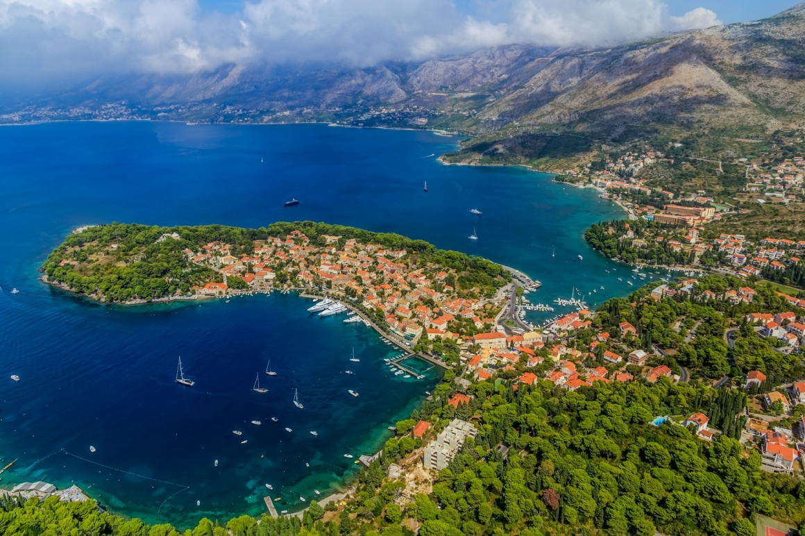 'Helicopter aerial shoot of Cavtat. Well known tourist destination near Dubrovnik.' - Dubrownik