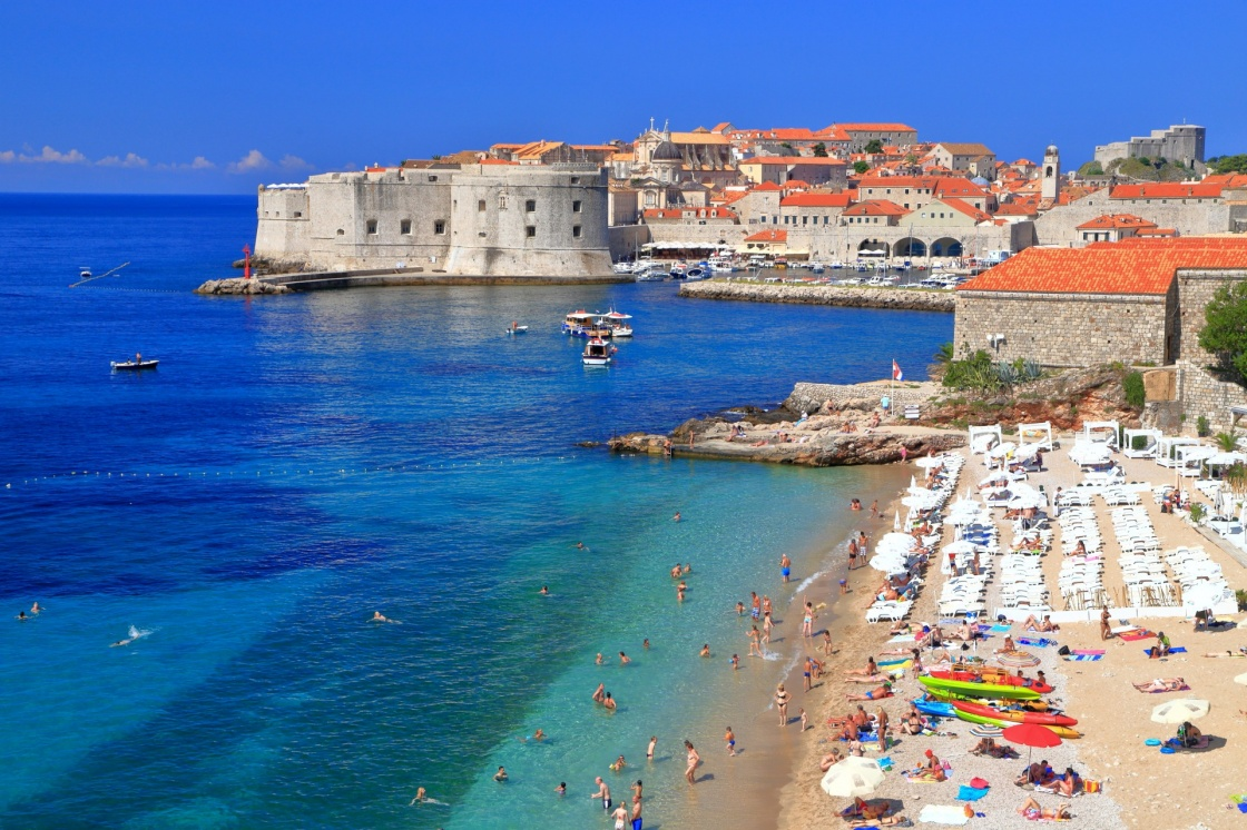 'Sunny beach on Eastern side of the old town of Dubrovnik, Croatia' - Dubrownik