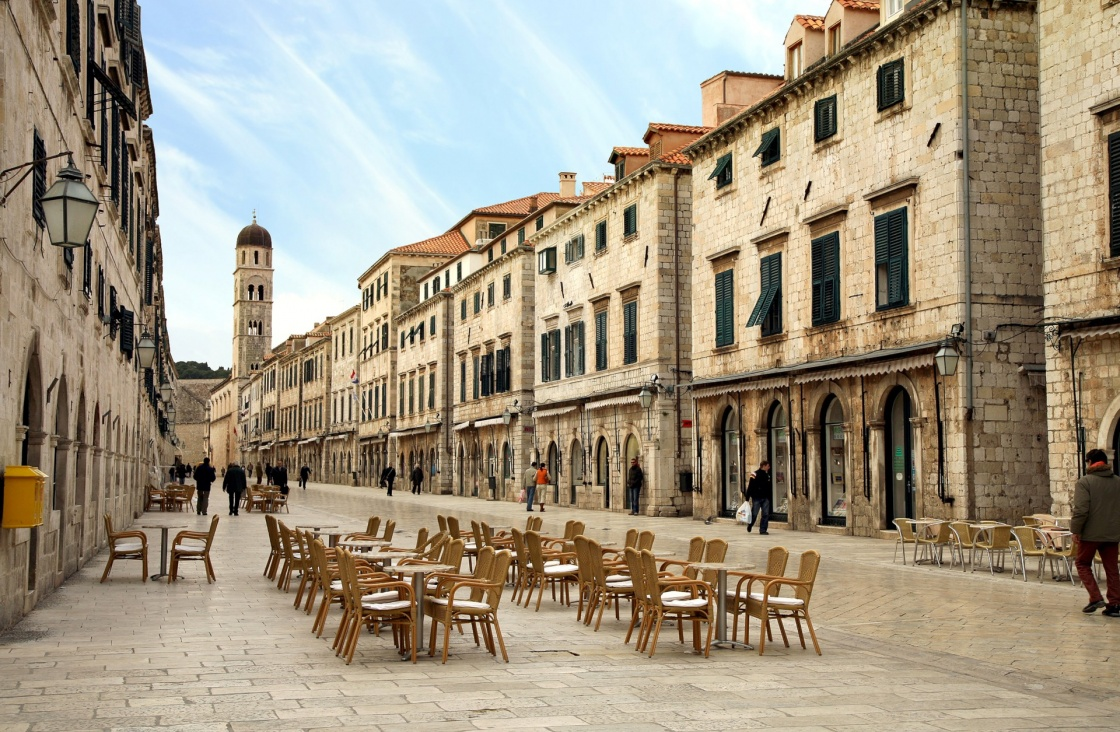 'Strada of Dubrovnik. The Strada is the main shopping street and gathering area in the city of Dubrovnik in Croatia.  Main street by early morning.' - Dubrownik