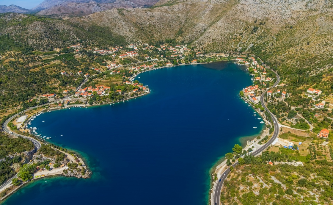 'Helicopter aerial shot of beautiful lagoon Zaton near Dubrovnik in Croatia.  Well known tourist destination.' - Dubrownik